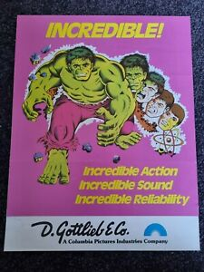 The Incredible Hulk - Gottlieb -ORIGINAL Promotional Advertising Flyer -last one