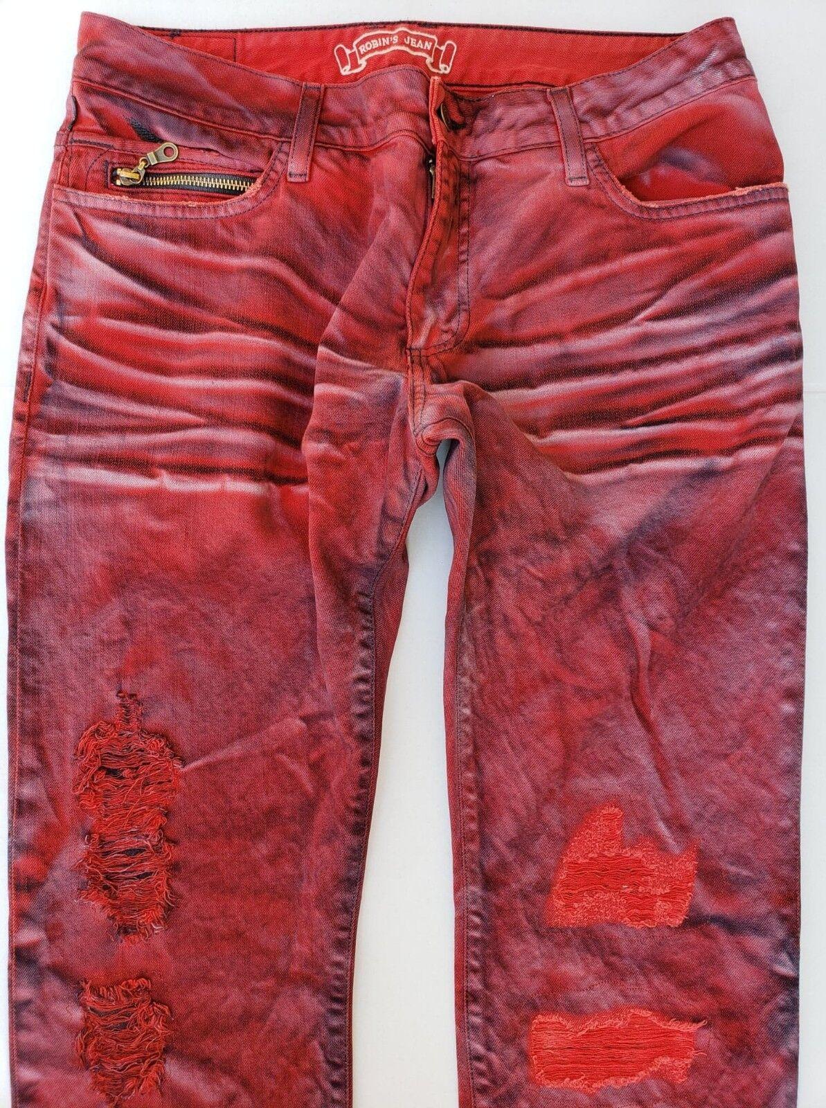 New Men's ROBIN'S JEAN sz 44 Short Flap Slim Straight Distress Jeans -ZIPPERS