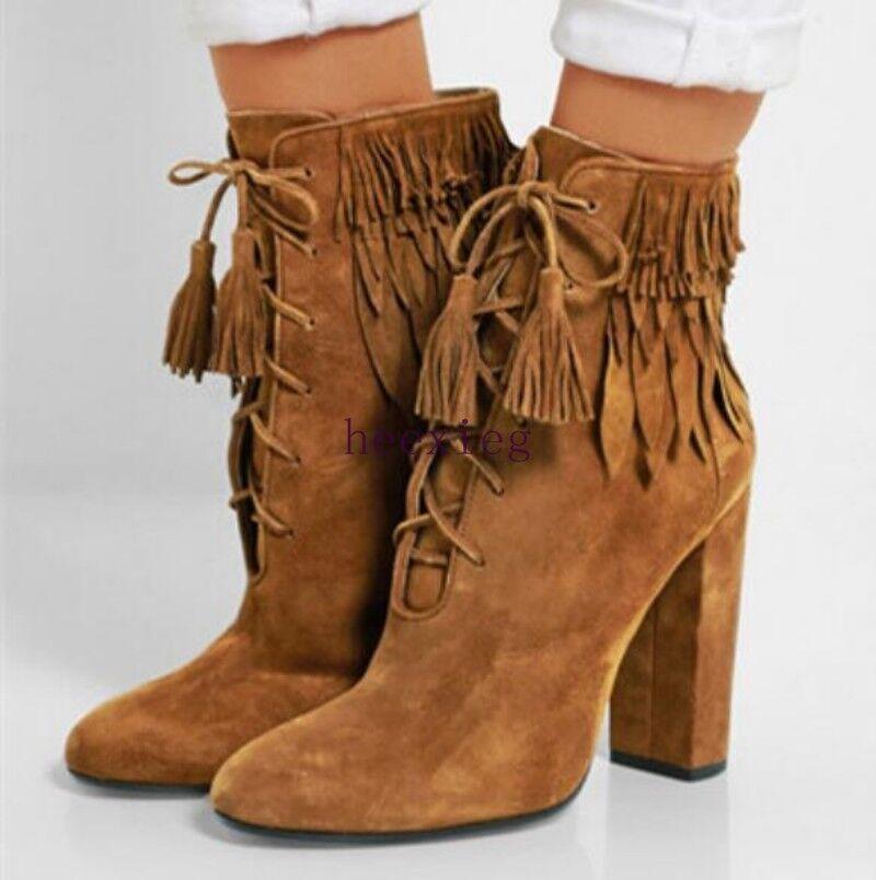 Vaquero De Mujer Estilo Retro Zapatos Gamuza Borlas Tobillo botas Cordones Tacones Gruesos De Moda