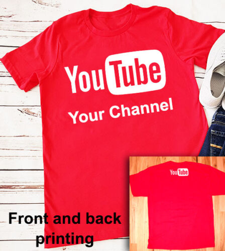 broadcast youtuber Red Shirt Personalized Channel YouTube logo T-shirt