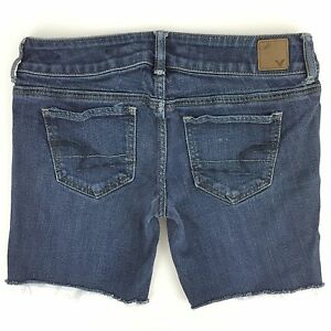 AMERICAN EAGLE CUT OFFS LOW RISE BLUE DENIM JEANS LONG SHORTS WOMENS SIZE 4 30W