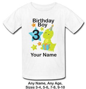 a954fe1f0 Personalised Birthday Boy Dinosaur age T Shirt Top Birthday 3rd 4th ...