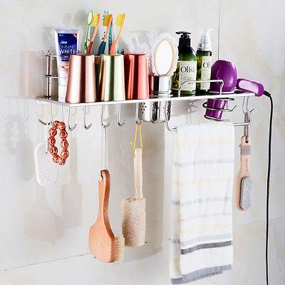 Stainless Steel Grand Hair Dryer Storage Holder Organizer Wall Mounted Bathroom