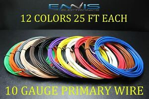 10 GAUGE WIRE ENNIS ELECTRONICS 25 FT EA 12 COLORS CABLE AWG COPPER CLAD