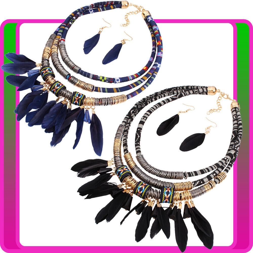 Tribal Jewellery Necklace Earrings Set Blue Black Bohemi Gypsy Boho Ethnic
