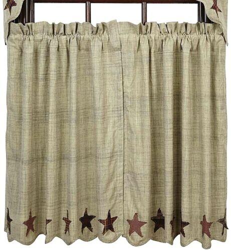 Abilene Star Lined Country Cafe Curtains Cream Window Tier Set Star Applique Hem