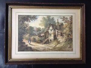 Antique-English-Watercolor-Painting-Unsigned