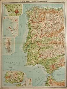 1920 LARGE MAP SPAIN AND PORTUGAL WESTERN SECTION LISBON OPORTO