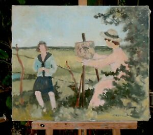 tableau-huile-toile-Le-peintre-et-son-modele-signee-Grenell