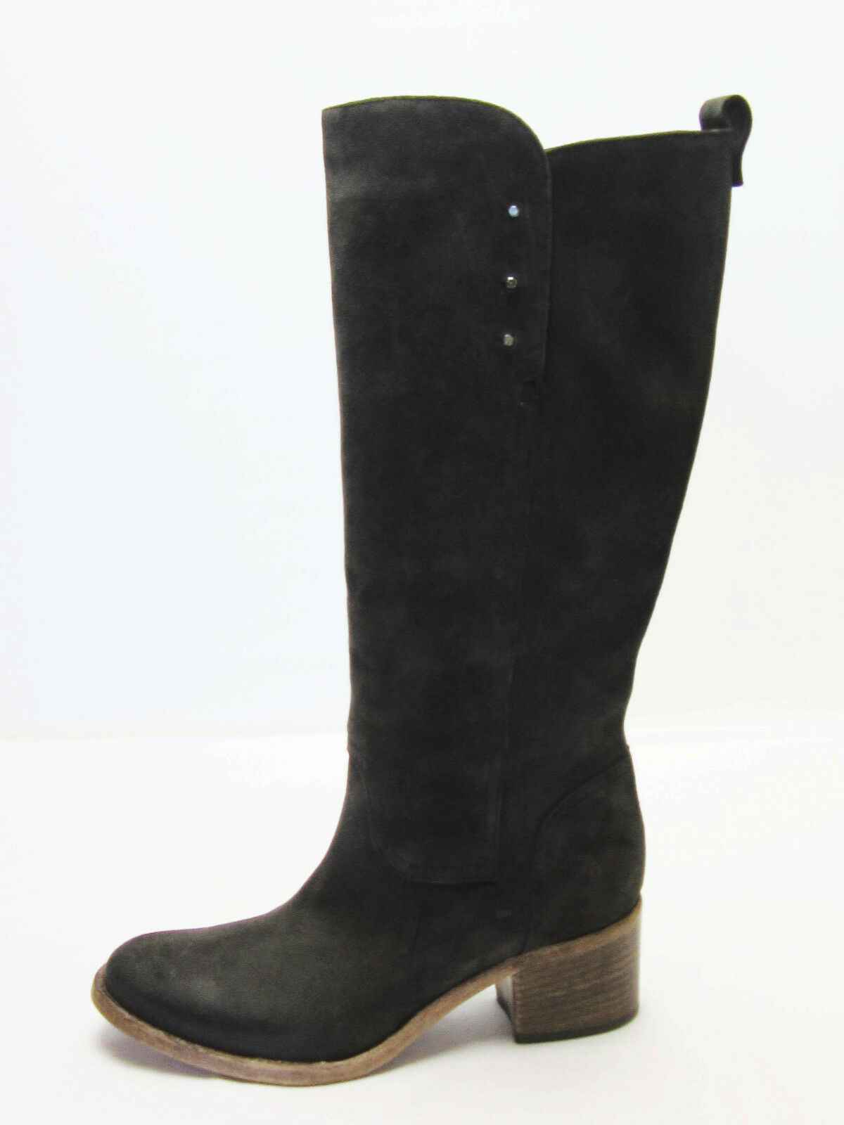 ALBERTO FERMANI Brown Suede Knee High Silver Stud Detail Boots Booties, Size 7.5