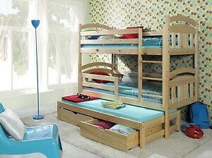 3 Sleeper Bunk Bed Pine Triple Wooden Solid Basic Foam Mattresses