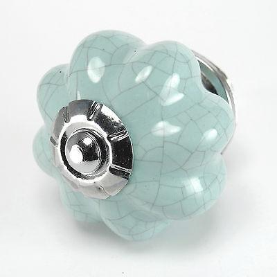 Blue Crackle Ceramic Knobs Cabinet Drawer Pulls or Hardware Handles #C38 ~Set//2