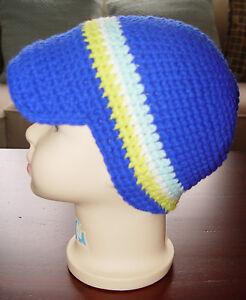 HANDMADE-CROCHET-KNIT-HATS-FOR-BABIES-amp-KIDS-NEWSBOY-CAP-BLUE-STRIPE-SZ-0-5-YRS