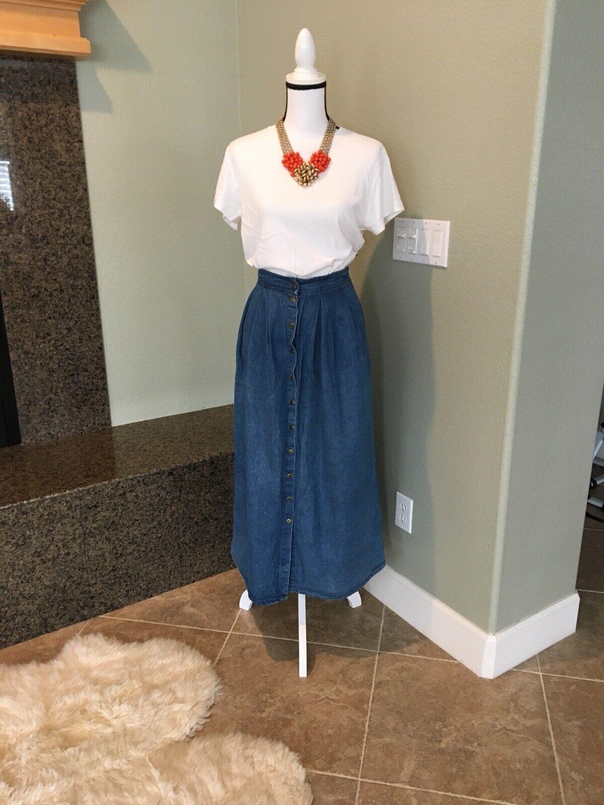Vintage Eileen West Denim Pleated A Line Skirt Bu… - image 1