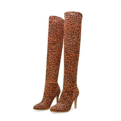 Details about  /46//47//48 Women Leopard Print Round Toe Dress Fashion Over The Knee High Boots D