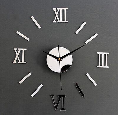 Hot Modern 3D DIY Clock Acrylic Foam Decoration Mirror Stickers Art Wall Clock