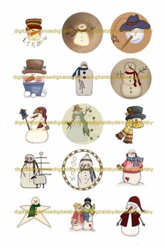 "CHRISTMAS SNOWMEN A 1/"" CIRCLES BOTTLE CAP IMAGES $2.45-$5.50  **FREE SHIPPING**"