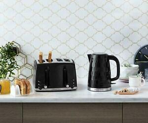 Kettle Toaster 4 Slice Black Honeycomb