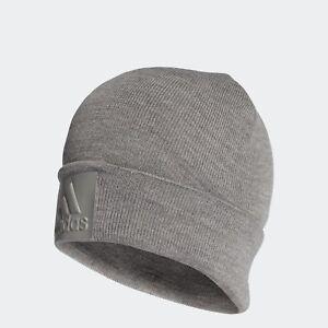 adidas-Logo-Beanie-BR0607-Solid-Grey-Originals-ONE-SIZE-Muetzen-Wintermuetze-NEU