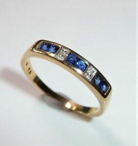 750 Anillo de Oro Amarillo, Vorsteckring 0.30CT Zafiro, 0,03 Diamantes Tam.