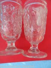 25173a 2x Pressglas Becher pressed cup ram`s head Widder Glas gepresst 15cm