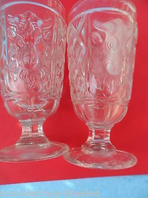 Begeistert 2x Pressglas Becher Pressed Cup Ram`s Head Widder Glas Gepresst 15cm In Den Spezifikationen VervollstäNdigen