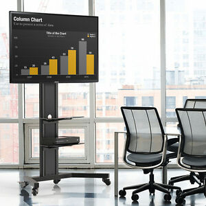 "Floor TV Cart Stand Mount Pedestal Base Fit 40-80"" Samsung LG Sony TV Stand"