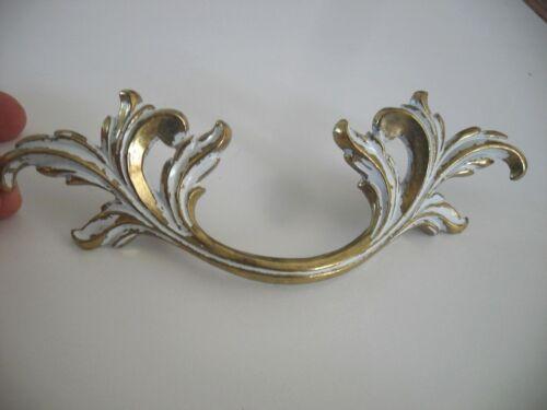 Vtg NOS White Brass Large Dresser Drawer Pulls French Provincial Victorian Leafy