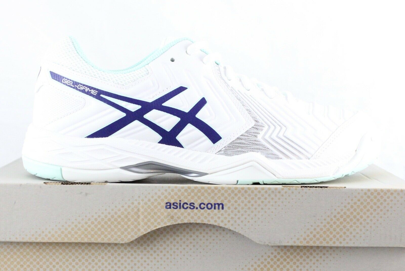 Asics Gel Game 6 E755Y White bluee Silver Womens shoes Size 8.5 BRAND NEW IN BOX
