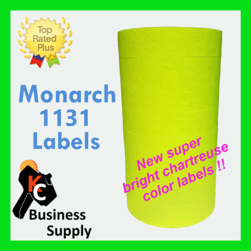 Labels for 1131 Monarch chartreuse-flr yellow,1 sleeve,ink included Made in USA