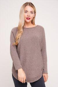 New Italian Lagenlook Knitted Scoop Neck Wool /& Angora MIx Curved Hem Jumper