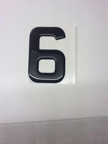 3D Gel en dôme chiffre en dôme BRICOLAGE numéro d/'enregistrement reg plaque Lettre Noir 6