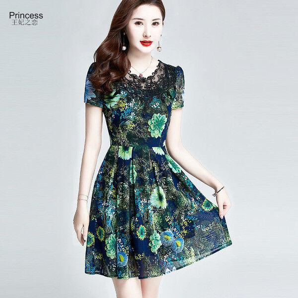 Elegante vestito vestito vestito abito corto  scampanato verde  fiori lungo slim morbido 4355 c0f224