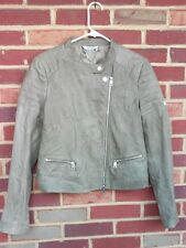 LIU JO Sage Green Leather Jacket Ladies Size UK 42