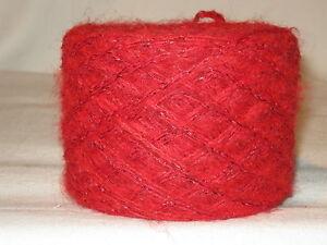 Wolle-100gr-3-40-034-rot-034-Merino-mit-eingedrehtem-Lurex-rot-haarig-Mohair