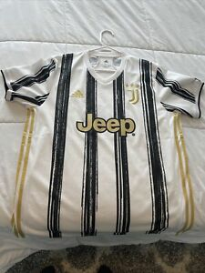 adidas Juventus FC 2020- 2021 Home Soccer Jersey Brand New White Black Gold