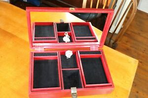 VINTAGE Tallent of Old Bond Street Large Red Jewellery box musical ballerina