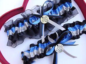 New Handmade Star Wars Yoda Wedding Garter Royal Blue Black Silver