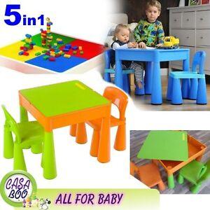 5in1 multi uso tavolo e 2 sedie set per bambini Kids attività, LEGO Verde & Arancione