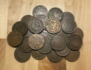 (1) Two Cent Piece Estate Sale Lot US Civil War Coins 1864-1869 2 Cent Piece
