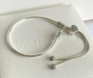 Details about Authentic PANDORA Moments Pave Heart Clasp Snake Chain Slider  Bracelet 598699C01