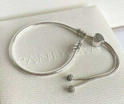 Authentic PANDORA Moments Pave Heart Clasp Snake Chain Slider Bracelet  598699C01 | eBay