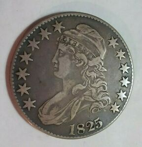 1825 CAPPED BUST SILVER HALF DOLLAR, Lettered Edge, Nice Detail & Attractive!