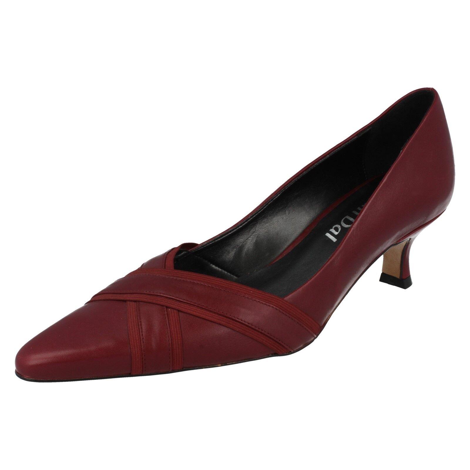 Señoras Borgoña Cuero Slip On Puntera en Punta Van Dal Zapatos Tribunal Zapatos Dal Pelle 5dac81