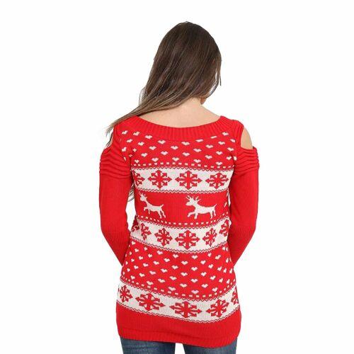 Ladies Christmas Jumper Xmas Reindeer Snowflakes Ruched Womens Cold Shoulder Top