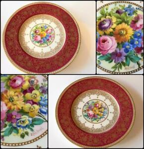 Minton Antique Cabinet Plate Set 2 Pink Floral Signed Colclough H3800 Hand Paint
