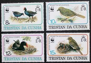 Endangered-species-Birds-stamps-1991-Tristan-da-Cunha-SG-ref-518-521-MNH