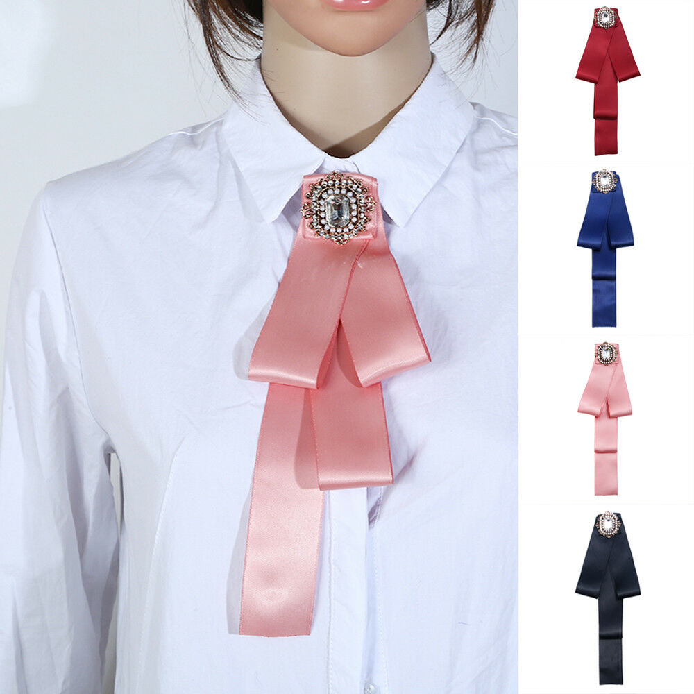 Fashion Womens Solid Color Crystal Satin Banquet Bow Tie Long Necktie Jewelry