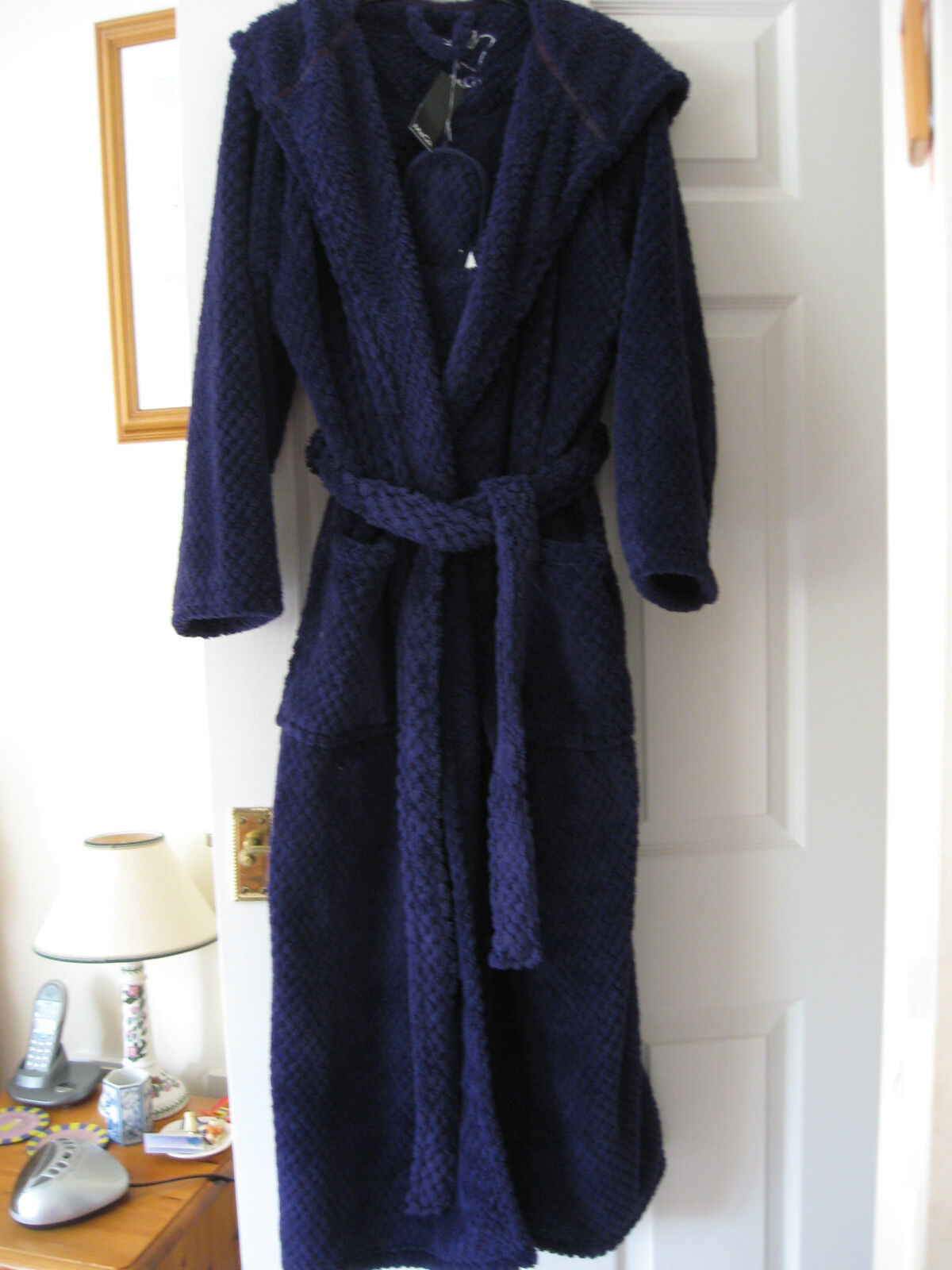 NEW WOMENS M&Co LONG PURPLE HOODED DRESSING GOWN ROBE SIZE & SLIPPERS 4-7