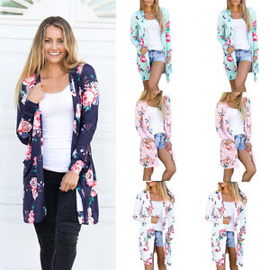 01c7897546 Image is loading Womens-Printing-Floral-Cardigan-Casual-Loose-Long-Sleeve-